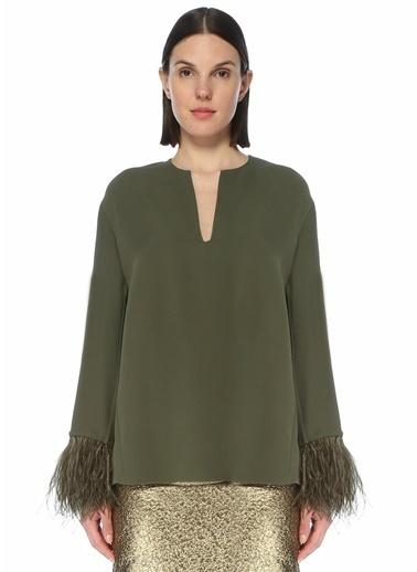 Valentino Valentino  Kolları Püsküllü İpek Bluz 101619559 Yeşil